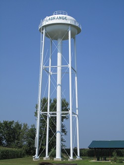 New Water Tower located at the park in the city of lagrange missouri